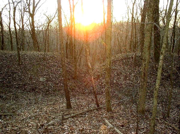 Vernal Equinox Sunset at Earthwork Gateway, Day's Knob Archaeological Site (33GU218)